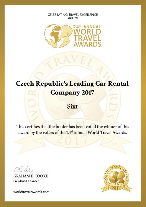 Sixt World Travel Awards certifikát 2017