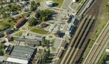 Train Station Ostrava Svinov - aerial view