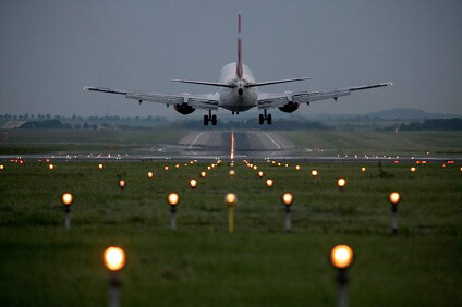 a plane taking off on Prague Airport